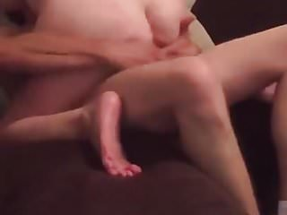 little cuckold can't control himself while wife is with Bull