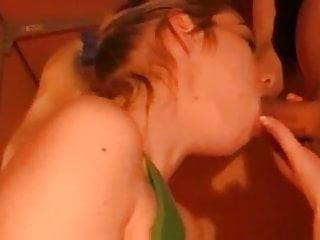 Blonde babe sucks that stiff rod on her knees