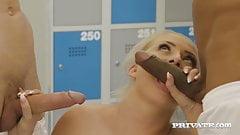 Private.com - Ana Rose & Cayla Lions Do Locker Room Orgy!
