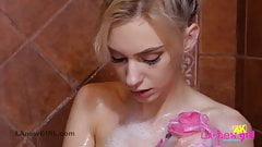 Glamorous model enjoys hot Shower in 4K