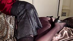 CD rubbing his cock against satin pillow