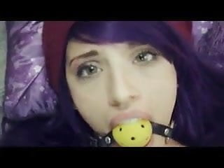 Gagged Emo with blue hair gets fucked in her ass