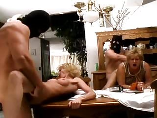 Mother and grandmother fucked by 2 men