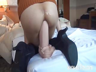 Gigantic anal dildo fucked Asian amateur