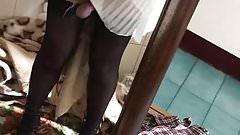 White Dress Black Heels Cum