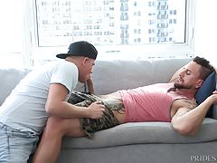 Napping Daddy Wakes to Young Hunk Sucking his Big Cock
