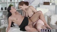 Sluts get on a table and fuck each other with a huge dildo