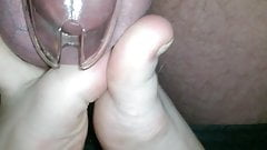 Feet play with balls in Chastity's Thumb