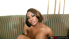 Chubby ebony shedoll exposes massive ass and perfect bigtits
