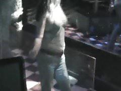 dancing in club in bra