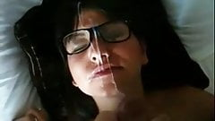 Girlfriend in nerd glasses gets BIG facial!