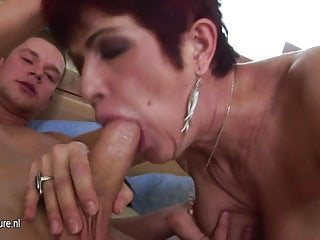Son piss and cums inside mature mother