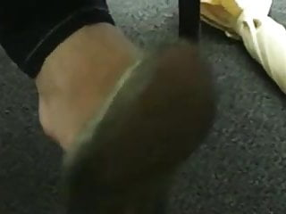 Candid Teen Shoeplay Dangling Close-UpCollege Library Feet