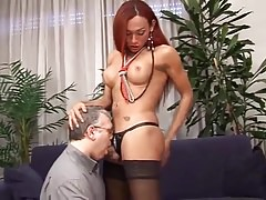 shemale tranny fuck old man throat
