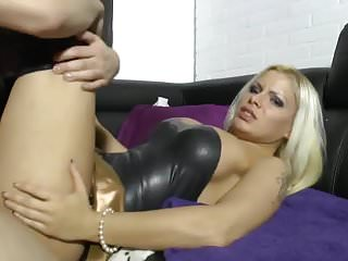 Blonde German Slut In Black Latex Fucks Boyfriend