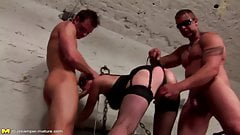 Slutty mature mom creampied by 2 not her sons
