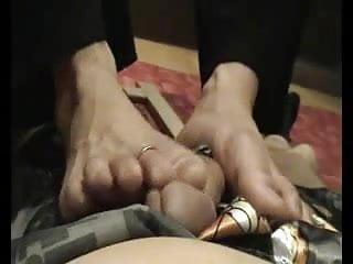 Amateur Asian Wife footjob during phone call