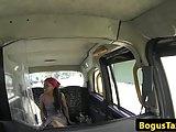 Ebony brit pussy fucks cabbie in back of taxi