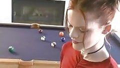 Elizabeth Douglas playing pool having a Marlboro Menthol.