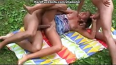 caught in the woods and fuck threesome girl