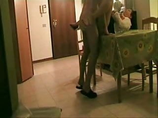 Hidden cam. Aunt fucked on the table !