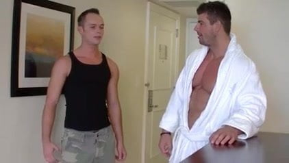 Muscle males plowing in hotel