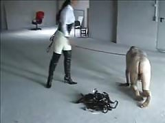 Slave on a leash crawling, painful