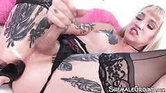 Stunning TS Lena Kelly dildo fucked while jerking off