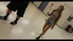 Skinny Blond College Teen Girl in Shorts