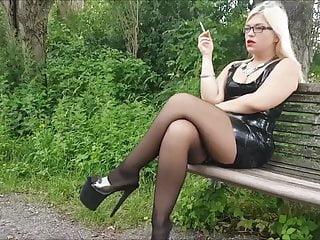 Mariella Outdoor Smoking in Latex, Stockings, and Heels