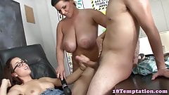 Milf teacher punishes teens in her classroom