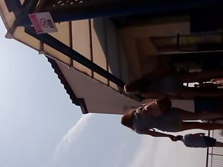 Amazing slut in high heels and tight skirt Beachpart 1