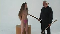 Master whips slim a-cup brunette with thin cane