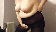 black stockings & her black body suit, curvy