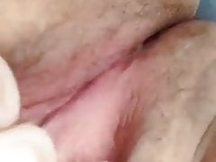 Wife plays with wet pussy