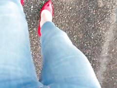 Walking in red patent heels and skinny jeans POV.MP4