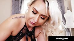 Cock Sucking Nina Kayy Spits On & Blows A Big Black Dick!
