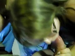 Cute chubby girl with glasses giving blowjob