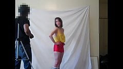 Real amateur model posing in sheer top and no bra