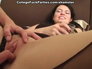 Real college threesome for sassy stockings girl