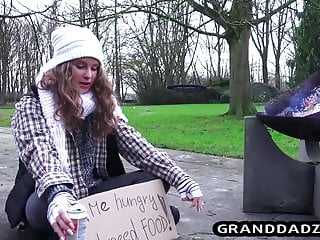 Homeless girl gets a waffle and a granddad dick for lunch