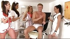 Medical examination with for horny nurses stroking a cock