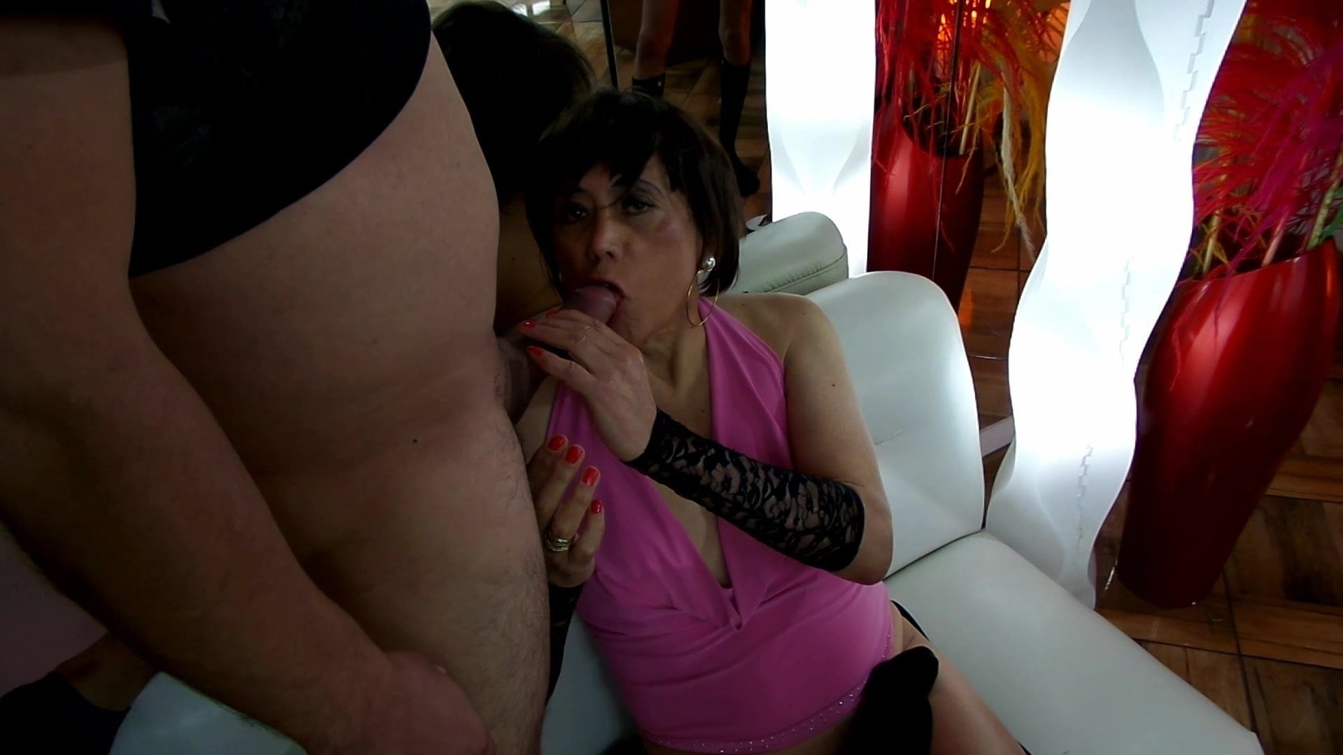 Divine lady in double anal penetration with three friends