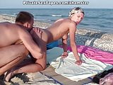 Horny couple of lovers in the real amateur sex on the beach