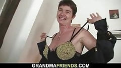 3some with 60 yo granny in lingerie