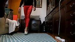 Red leggings and high heels