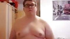 Fat boy show his body