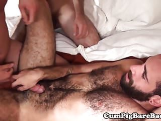 Preview 5 of Hairy wolf barebacked in threeway