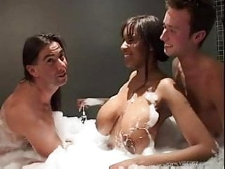 busty black babe fucked by two white blokes pt1
