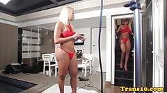 Doppelganger tgirls get ready for their scene